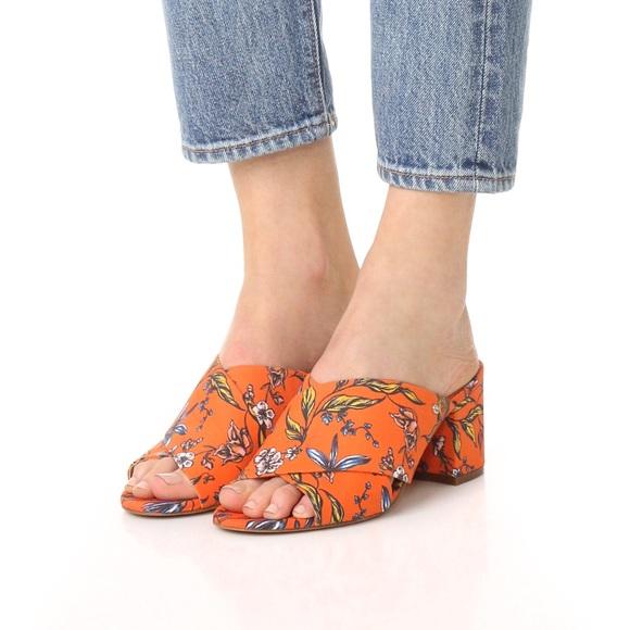 fec4a17e3d6b Sam Edelman Stanley Orange Floral Block Heel Mule